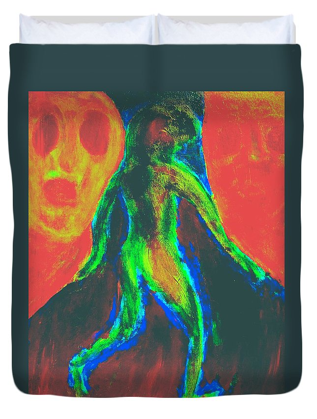 Walking Duvet Cover featuring the painting dont walk out on me, I need you all by Hilde Widerberg