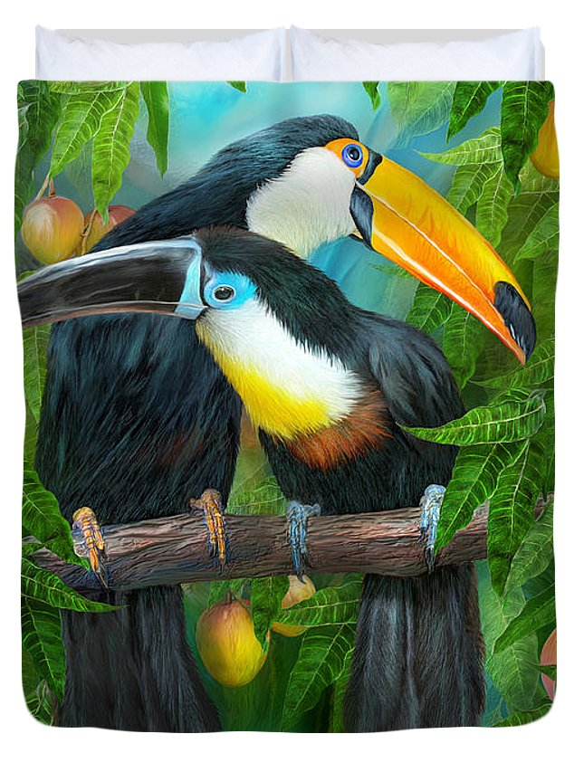 Toucan Duvet Cover featuring the mixed media Tropic Spirits - Toucans by Carol Cavalaris