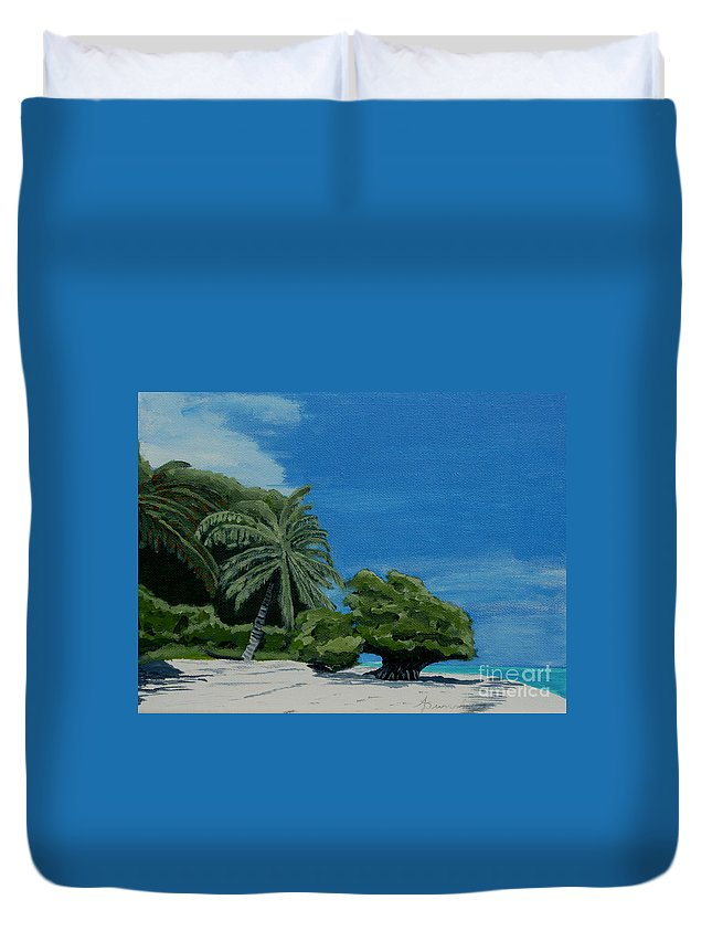 Beach Duvet Cover featuring the painting Tropical Beach by Anthony Dunphy