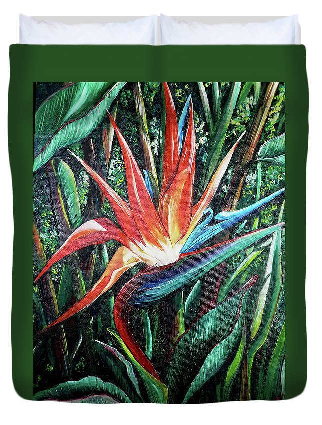 Floral Duvet Cover featuring the painting Tropical Bird by Karin Dawn Kelshall- Best