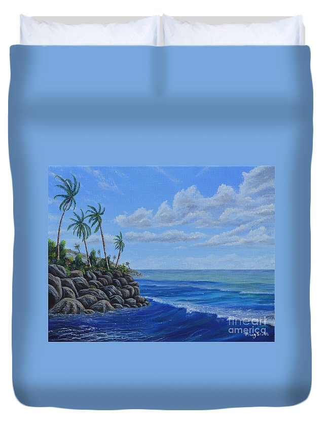 Ocean Duvet Cover featuring the painting Tropical Day by Mary Scott
