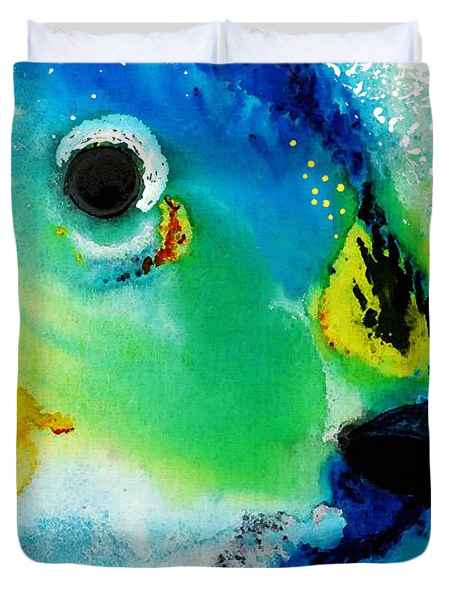 Parrot Fish Duvet Cover featuring the painting Tropical Fish 2 - Abstract Art By Sharon Cummings by Sharon Cummings