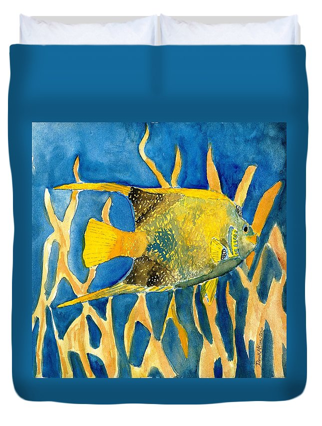 Tropical Duvet Cover featuring the painting Tropical Fish Art Print by Derek Mccrea