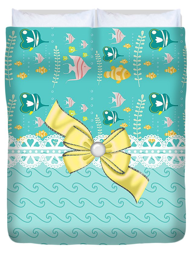 Fish Duvet Cover featuring the digital art Colorful Tropical Fish by DMiller