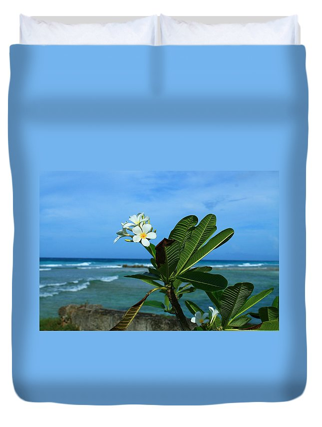 Plumeria Duvet Cover featuring the photograph Tropical Flowers by Catie Canetti