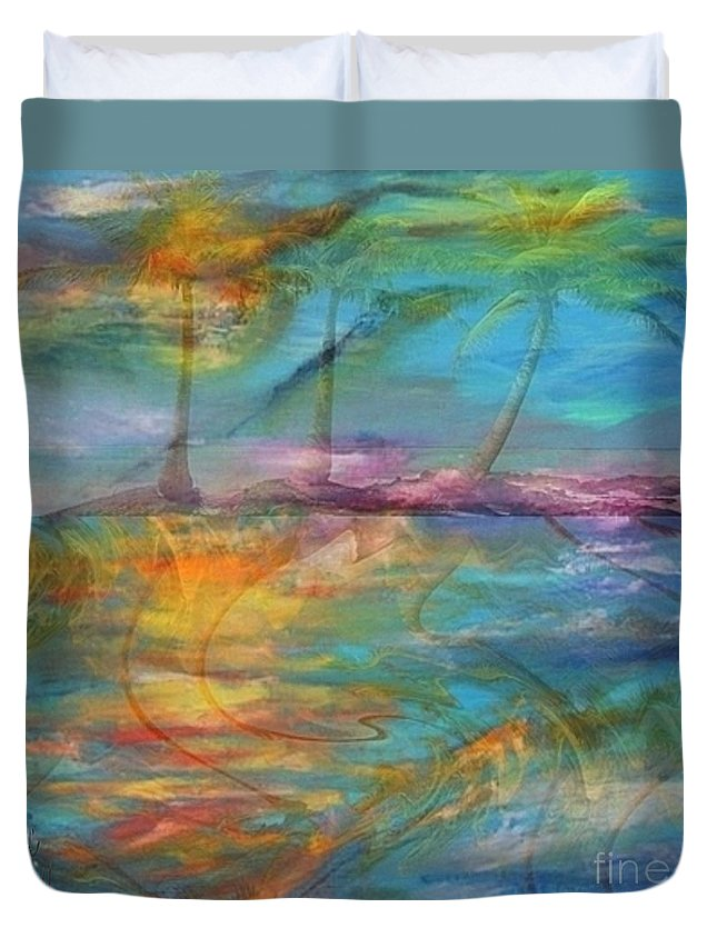 Tropical Haze Prints Duvet Cover featuring the painting Tropical Haze by PainterArtist FIN