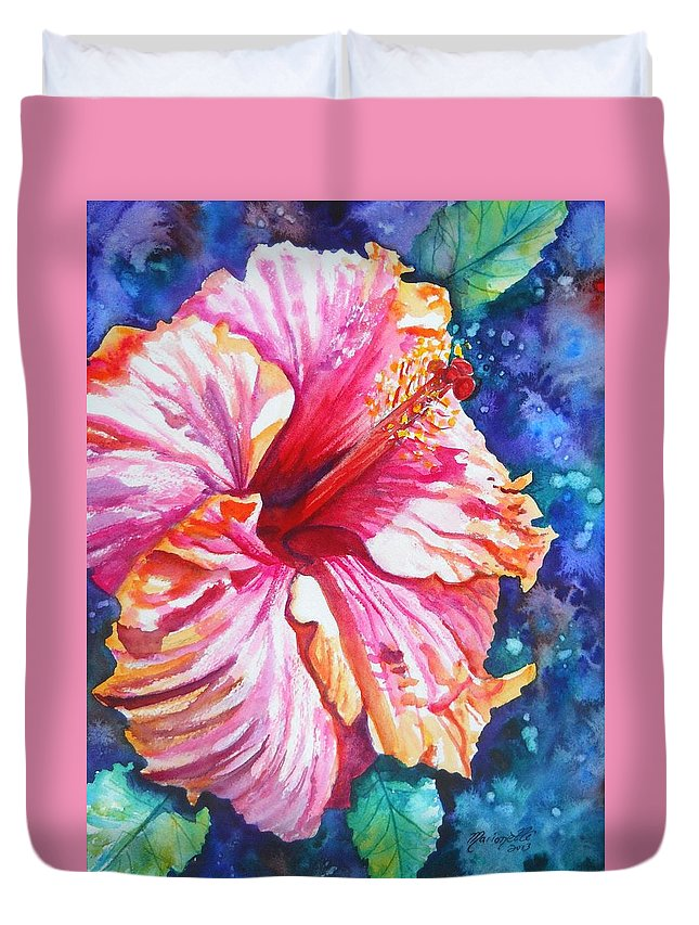 Hibiscus Duvet Cover featuring the painting Tropical Hibiscus 4 by Marionette Taboniar
