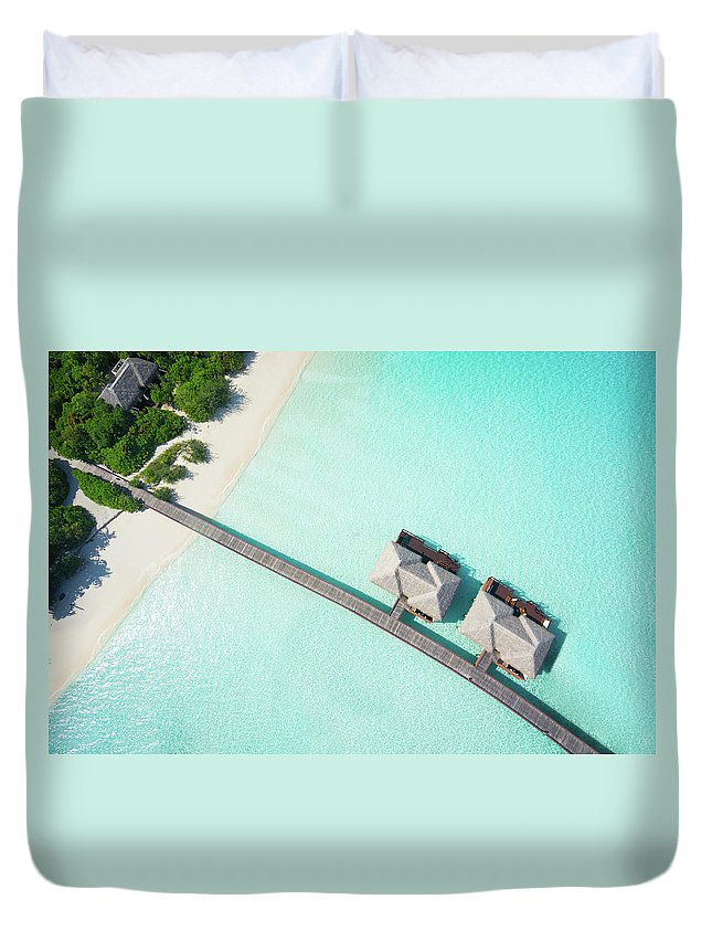 Outdoors Duvet Cover featuring the photograph Tropical Hideaway From Above by Amriphoto