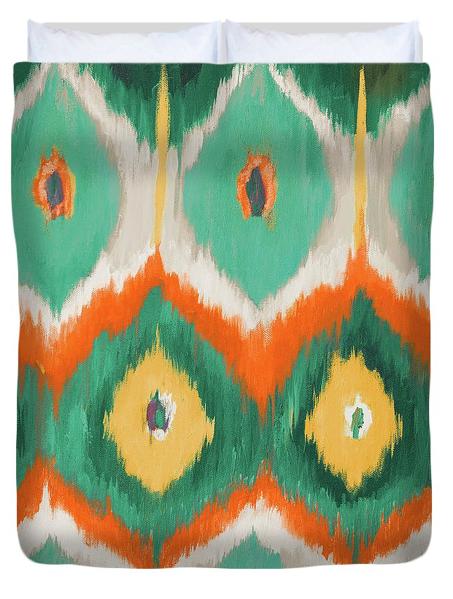 Tropical Duvet Cover featuring the painting Tropical Ikat II by Patricia Pinto