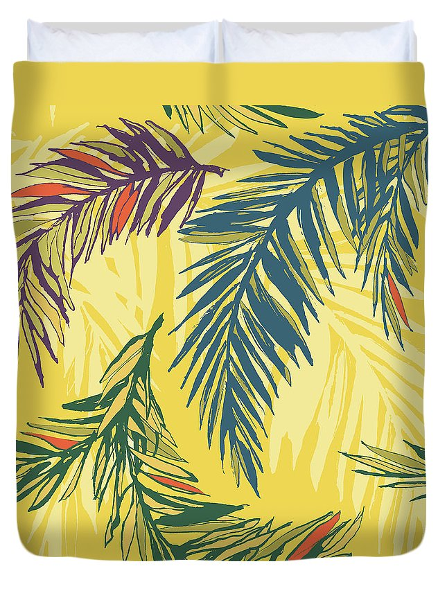 Tropical Rainforest Duvet Cover featuring the digital art Tropical Jungle Floral Seamless Pattern by Sv sunny