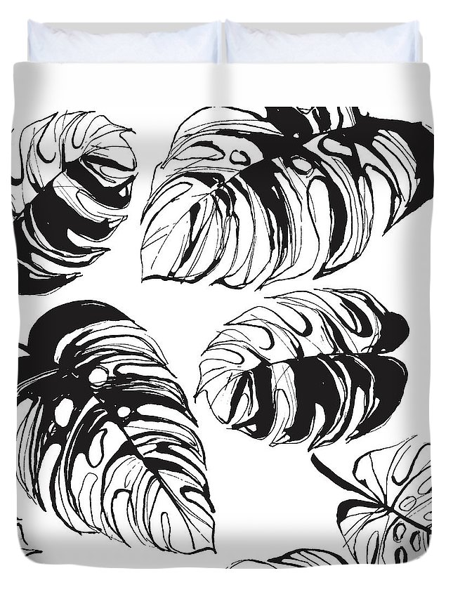 Tropical Rainforest Duvet Cover featuring the digital art Tropical Jungle Floral Seamless by Sv sunny