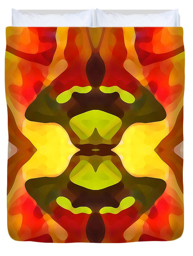 Abstract Duvet Cover featuring the painting Tropical Leaf Pattern 1 by Amy Vangsgard