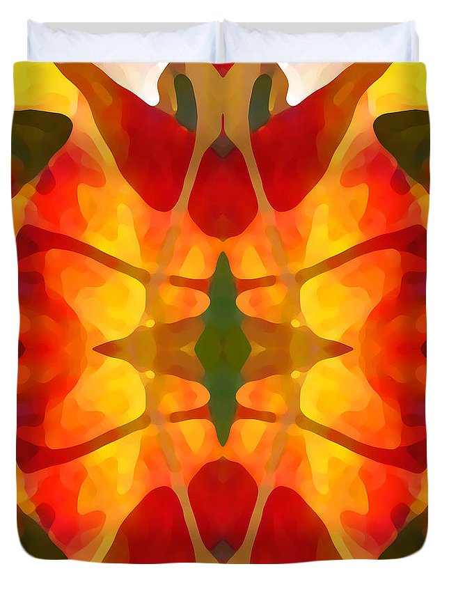 Abstract Duvet Cover featuring the painting Tropical Leaf Pattern5 by Amy Vangsgard