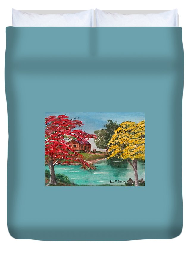 Flamboyan Duvet Cover featuring the painting Tropical Lifestyle by Luis F Rodriguez