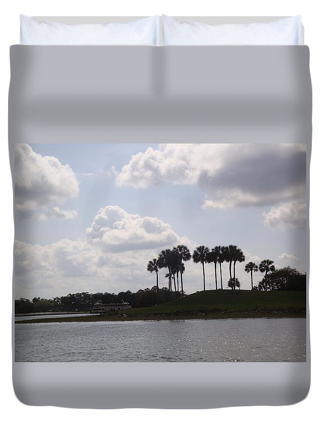 Clouds Duvet Cover featuring the photograph Tropical Palms And Clouds by Kim Chernecky