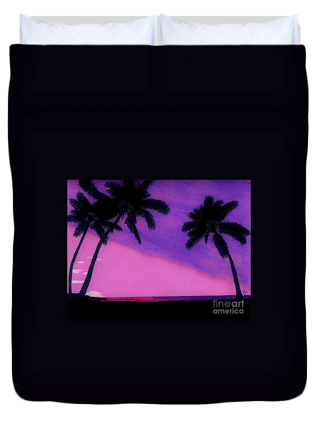 Sunset Duvet Cover featuring the drawing Tropical Pink Sunset by D Hackett