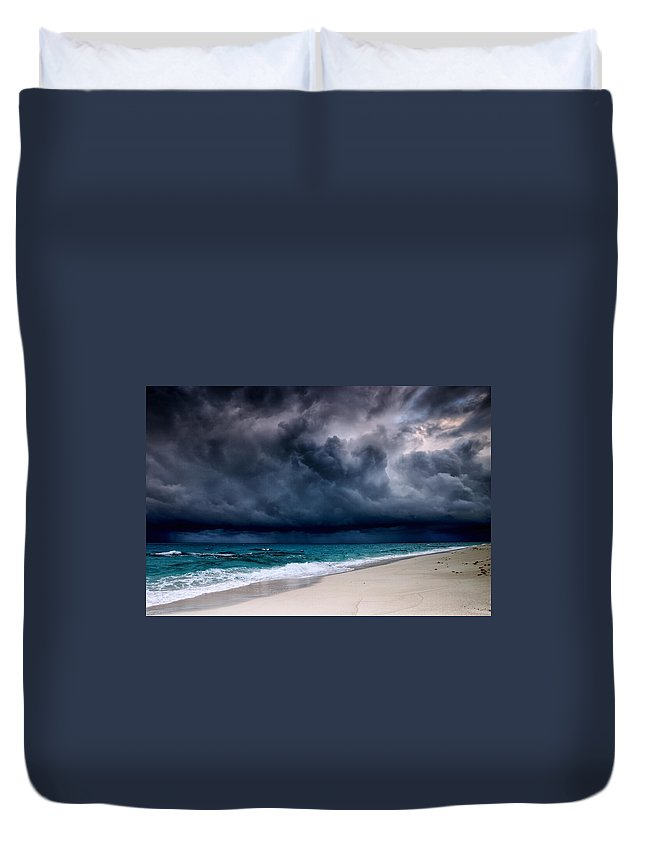 Water's Edge Duvet Cover featuring the photograph Tropical Storm Over The Caribbean Sea by Stevegeer