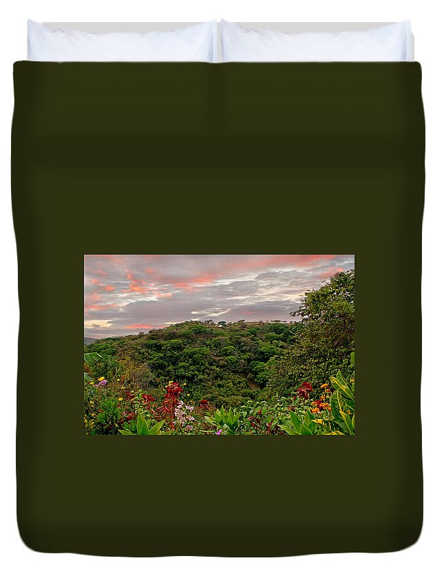 Tropical Duvet Cover featuring the photograph Tropical Sunset Landscape by Peggy Collins