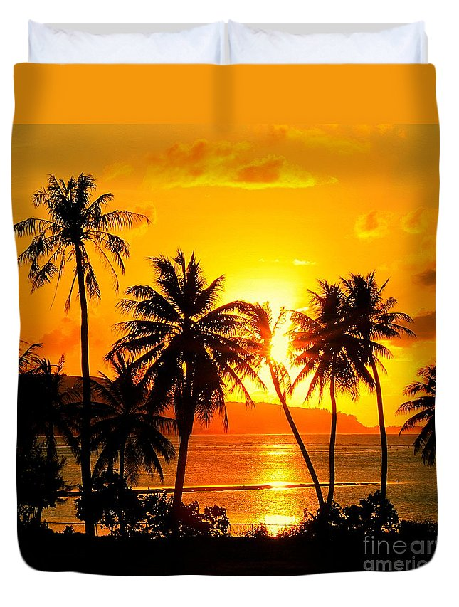 Tropical Beach Duvet Cover featuring the photograph Tropical Sunset by Scott Cameron