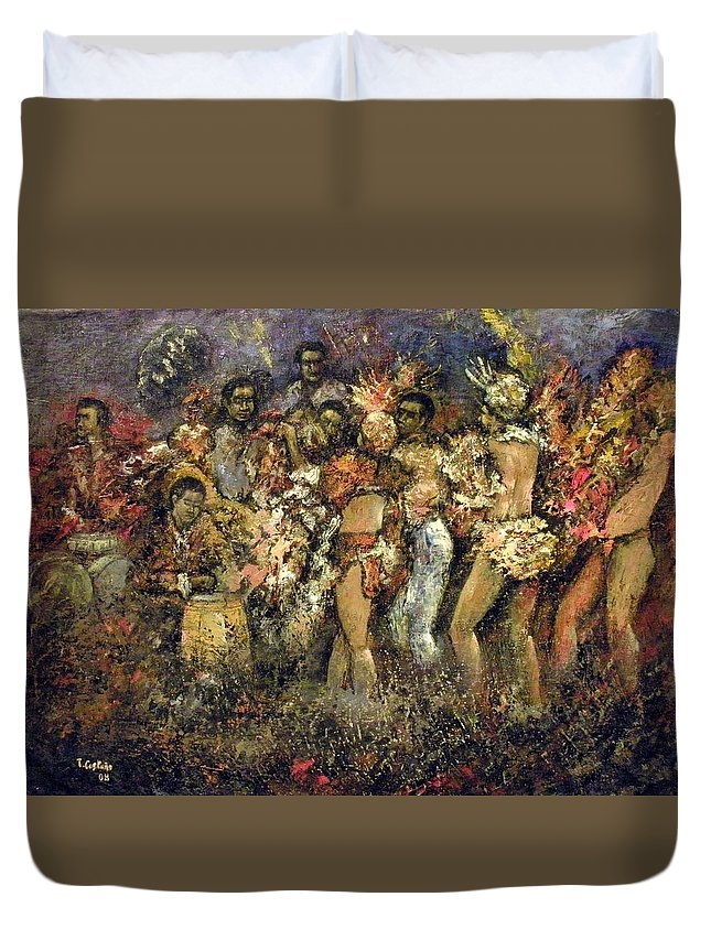 Tropicana Duvet Cover featuring the painting Tropicana Havana by Tomas Castano
