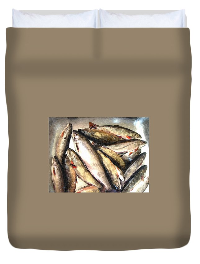 Trout Digital Painting Duvet Cover featuring the photograph Trout Digital Painting by Barbara Griffin