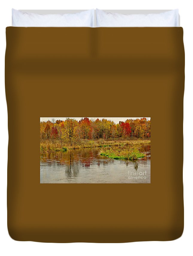 Textured Duvet Cover featuring the photograph Trout Stream II- Textured by Gary Richards