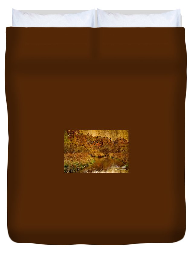Textured Duvet Cover featuring the photograph Trout Stream Textured by Gary Richards