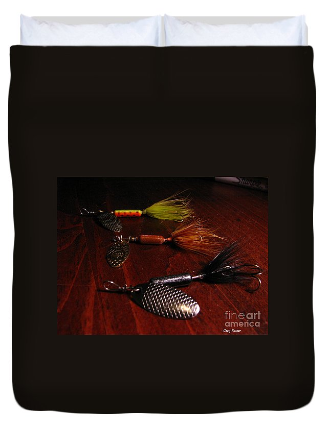 Patzer Duvet Cover featuring the photograph Trout Temptation by Greg Patzer