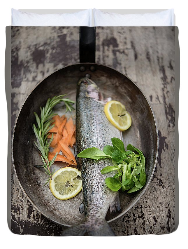 Wood Duvet Cover featuring the photograph Trout With Carrots And Lemon In A Pan by By Foodograph.at