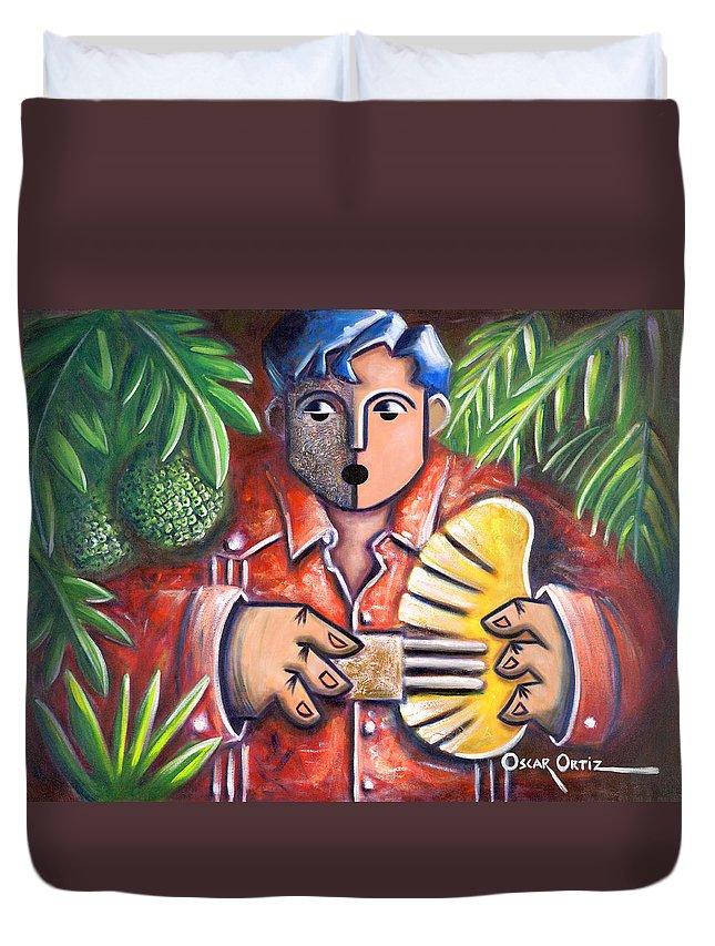 Puerto Rico Duvet Cover featuring the painting Trovador de la pana by Oscar Ortiz