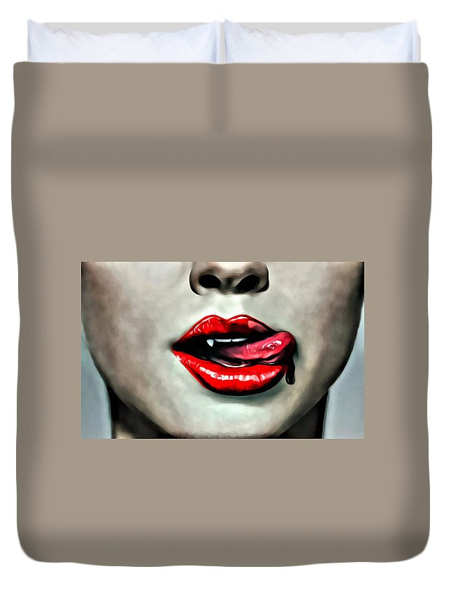 Tv Duvet Cover featuring the painting True Blood by Florian Rodarte
