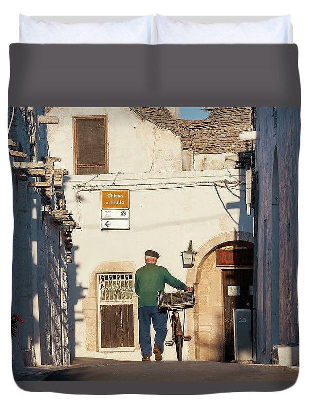 People Duvet Cover featuring the photograph Trulli Houses Alberobello Apulia Puglia by Peter Adams
