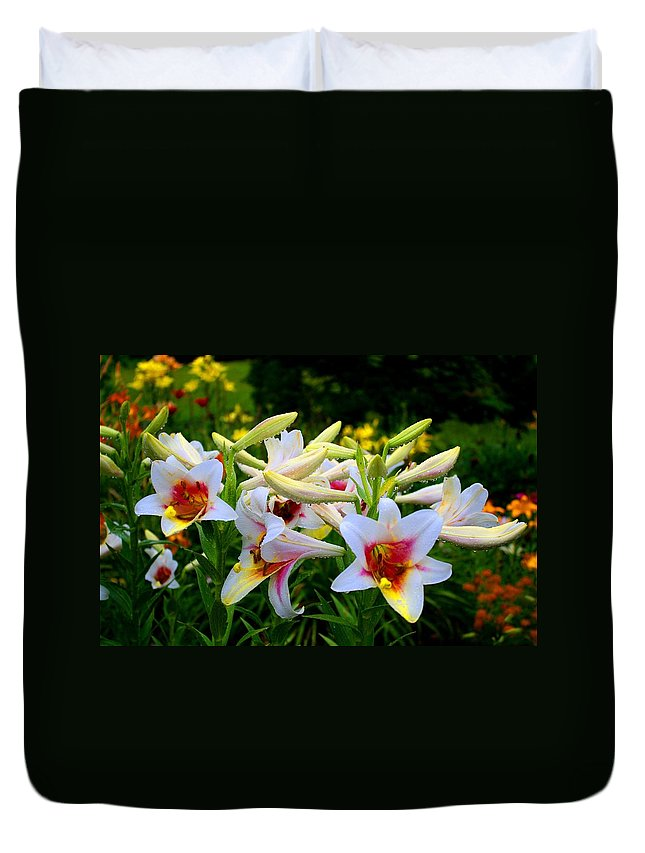 Lily Duvet Cover featuring the photograph Trumpet Lilies by Kathryn Meyer