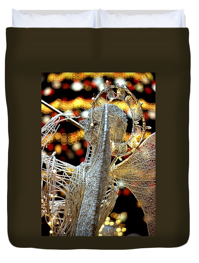 Trumpeting Angel Duvet Cover featuring the photograph Trumpeting Angel by Steve Archbold