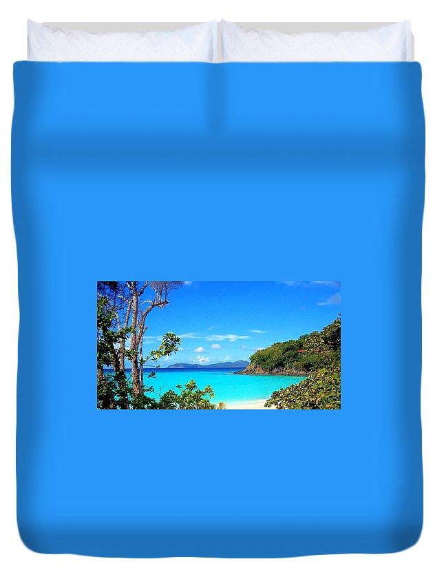 Virgin Islands Duvet Cover featuring the photograph Trunk Bay St. John by Caroline Stella
