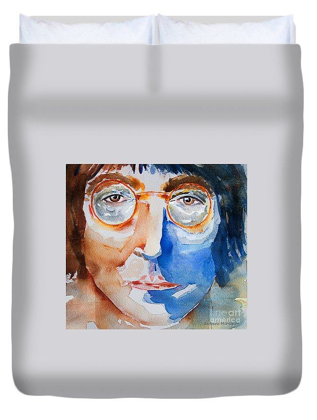 John Lennon Duvet Cover featuring the painting Try Harder To Imagine by Barbara McMahon