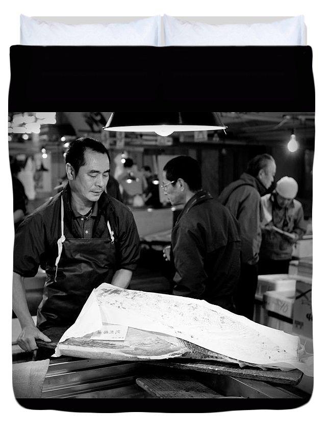 Japan Duvet Cover featuring the photograph Tsukiji Tokyo Fish Market by Sebastian Musial