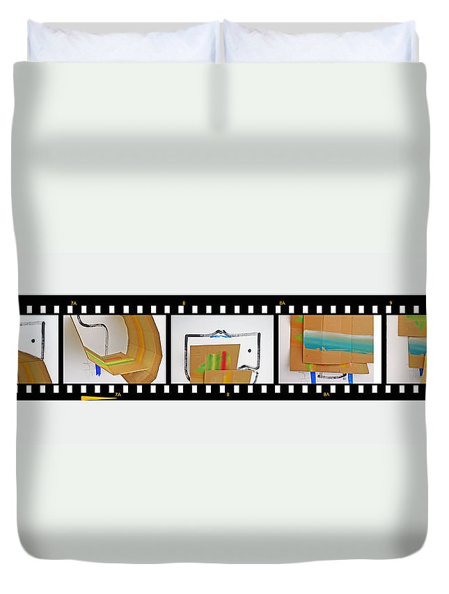 Terracotta Army Duvet Cover featuring the painting Tsunami Strip by Charles Stuart