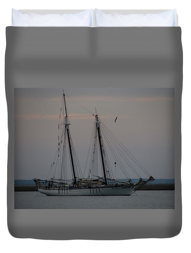 Sailboat Duvet Cover featuring the photograph Tucked In by Lin Grosvenor
