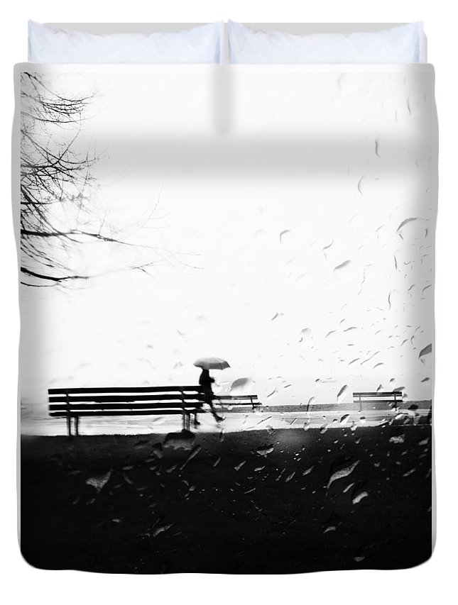 Street Photography. Black And White Duvet Cover featuring the photograph Tuesdays Plot by The Artist Project