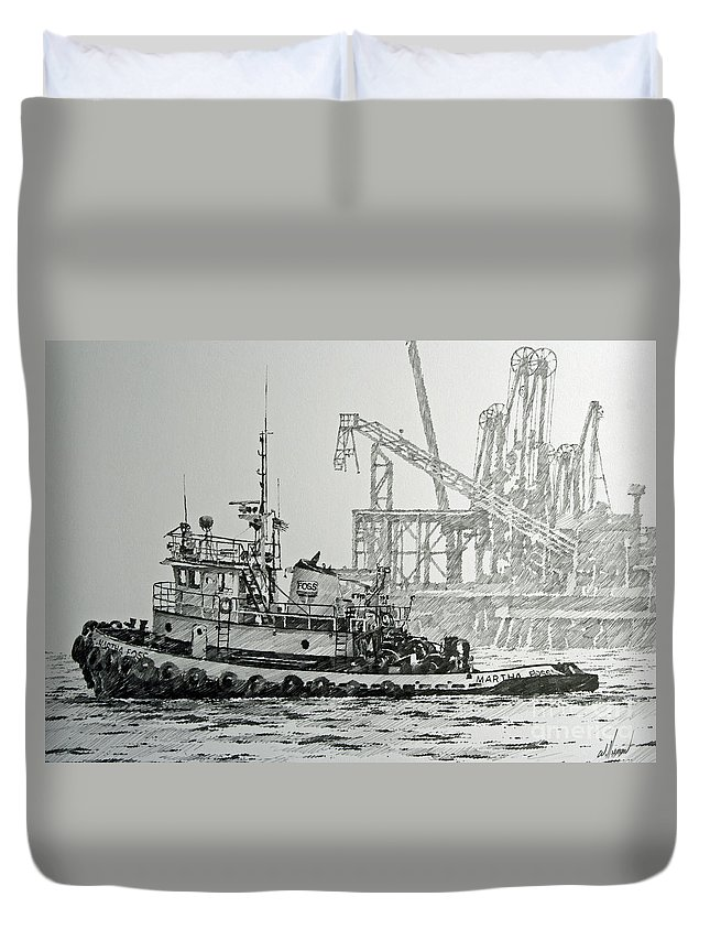 Tugs Duvet Cover featuring the drawing Tugboat Martha Foss by James Williamson