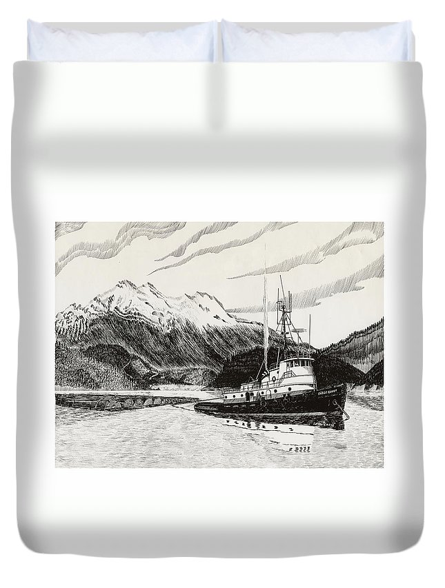 Tugboat Skagit Chief Prints Duvet Cover featuring the drawing Skagit Chief Tugboat by Jack Pumphrey