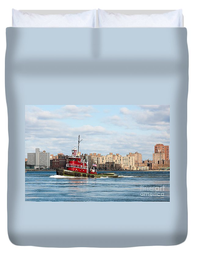 Clarence Holmes Duvet Cover featuring the photograph Tugboat Turecamo Girls by Clarence Holmes