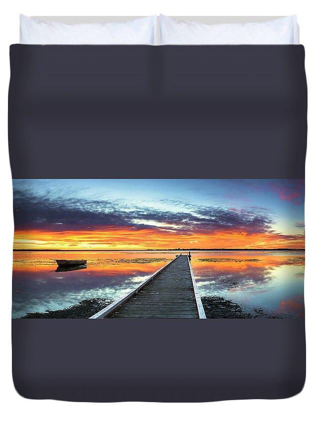 Tranquility Duvet Cover featuring the photograph Tuggerah Lake Jetty by Bruce Hood