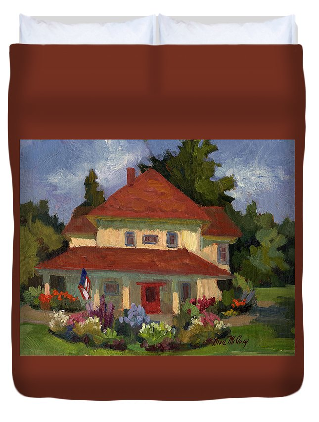Helen Nelson Farm Duvet Cover featuring the painting Tukwilla Farm House by Diane McClary