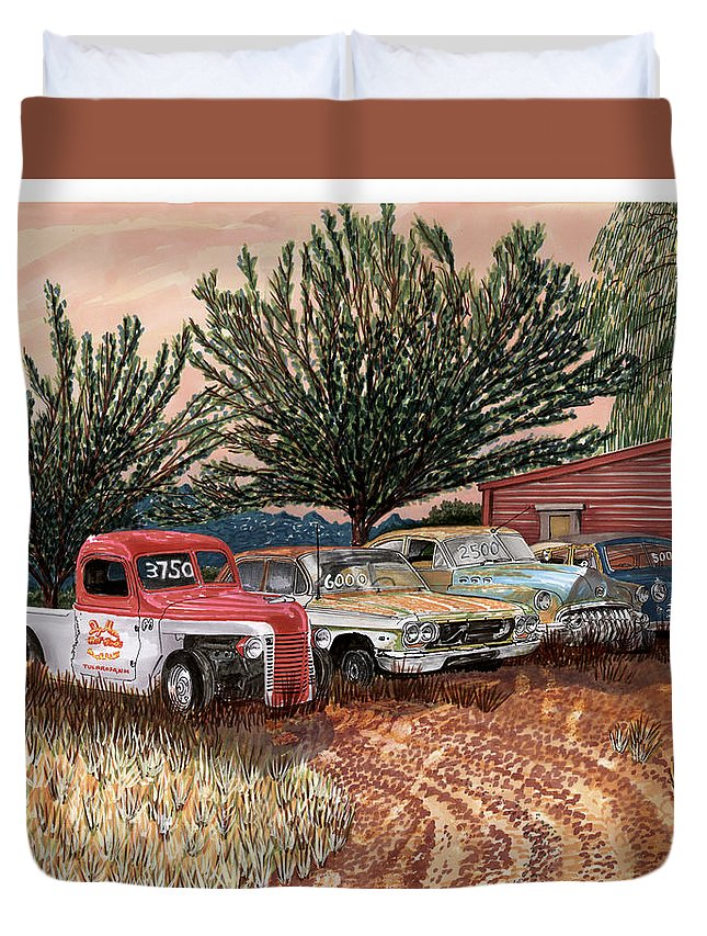Classic Car Art Duvet Cover featuring the painting Tularosa Motors by Jack Pumphrey