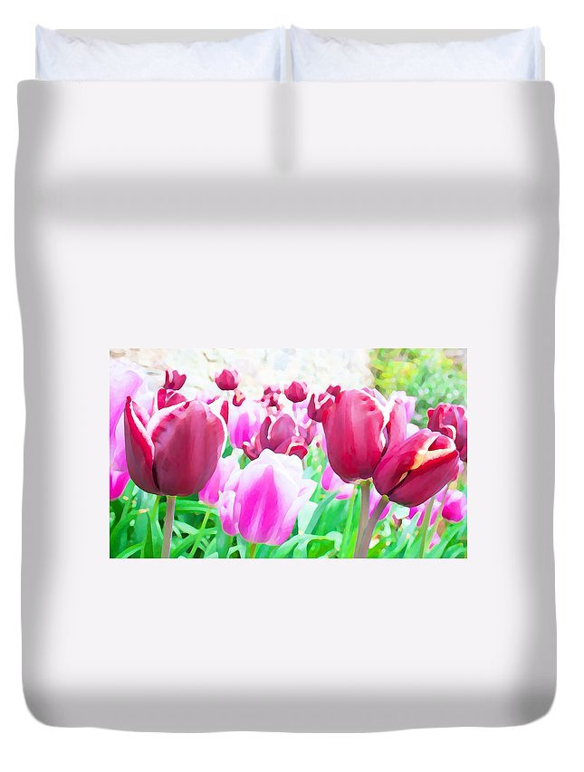 Background Duvet Cover featuring the digital art Tulip Delight by Semmick Photo