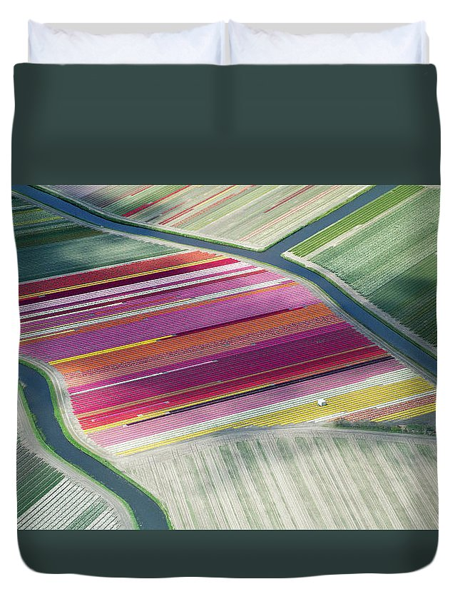 Curve Duvet Cover featuring the photograph Tulip Fields, Aerial View, South by Frans Sellies