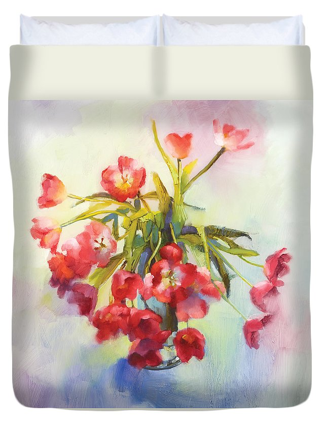 Florals Duvet Cover featuring the painting Tulip Fling by Cathy Locke