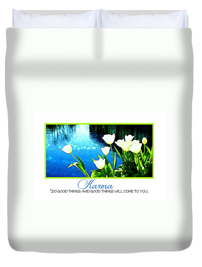 Karma Duvet Cover featuring the photograph Tulip Karma by Tina Meador